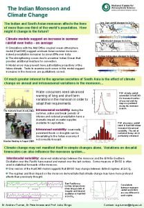 The Indian Monsoon and Climate Change The Indian