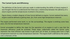 The Carnot Cycle and Efficiency The definition of
