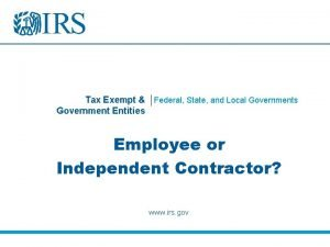 Tax Exempt Federal State and Local Governments Government
