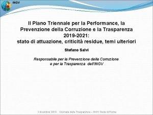 INGV Il Piano Triennale per la Performance la