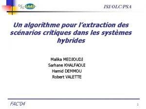 ISIOLCPSA Un algorithme pour lextraction des scnarios critiques