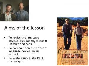 Aims of the lesson To revise the language