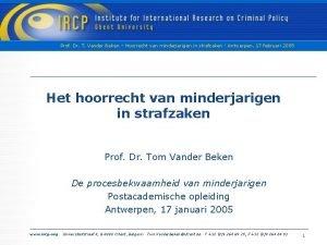 Prof Dr T Vander Beken Hoorrecht van minderjarigen