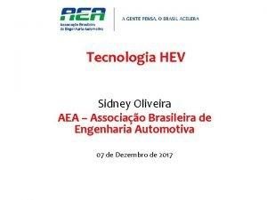Tecnologia HEV Sidney Oliveira AEA Associao Brasileira de