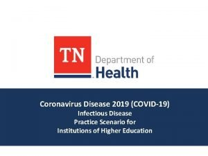 Coronavirus Disease 2019 COVID19 Infectious Disease Practice Scenario