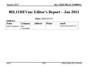 January 2013 doc IEEE 802 11 130095 r