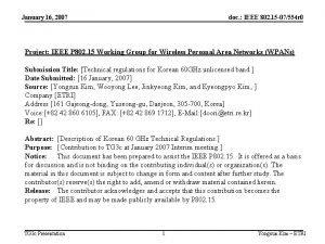 January 16 2007 doc IEEE 802 15 07554