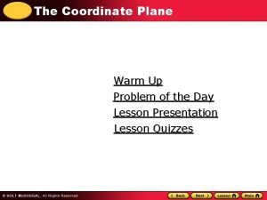The Coordinate Plane Warm Up Problem of the