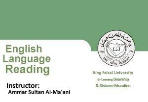 English Language Reading King Faisal University e Learning