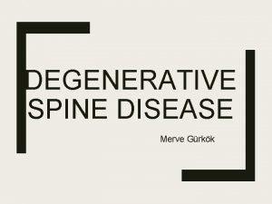 DEGENERATIVE SPINE DISEASE Merve Grkk Spinal cord The