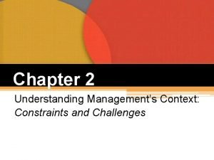 Chapter 2 Understanding Managements Context Constraints and Challenges