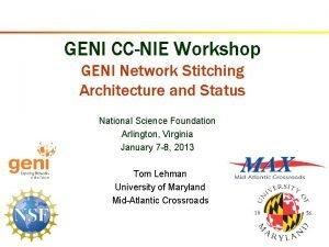 GENI CCNIE Workshop GENI Network Stitching Architecture and