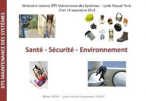BTS MAINTENANCE DES SYSTMES Sminaire national BTS Maintenance