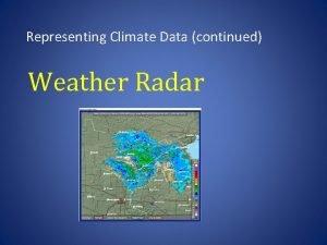 Representing Climate Data continued Weather Radar radar Radio