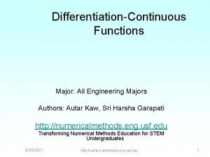DifferentiationContinuous Functions Major All Engineering Majors Authors Autar