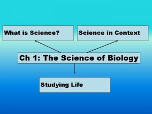 What is Science Science in Context Ch 1