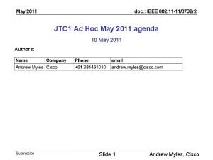 May 2011 doc IEEE 802 11 110732 r