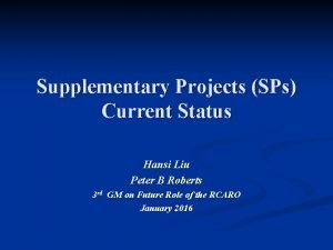 Supplementary Projects SPs Current Status Hansi Liu Peter