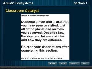 Aquatic Ecosystems Classroom Catalyst Section 1 Aquatic Ecosystems