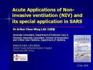 Acute Applications of Noninvasive ventilation NIV and its