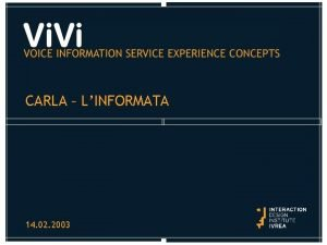 CARLA LINFORMATA 14 02 2003 CARLA LINFORMATA The
