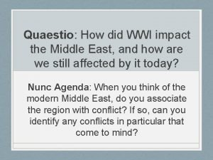Quaestio How did WWI impact the Middle East