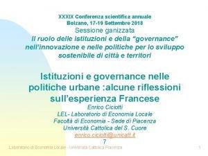 XXXIX Conferenza scientifica annuale Bolzano 17 19 Settembre