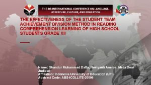 THE EFFECTIVENESS OF THE STUDENT TEAM ACHIEVEMENT DIVISION