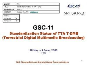 SOURCE TTA TITLE Standardization Status of TTA TDMB