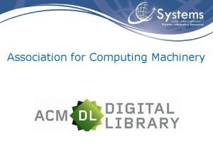 Association for Computing Machinery Informaes ACM Association for