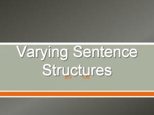 Varying Sentence Structures Simple Sentence One independent clause