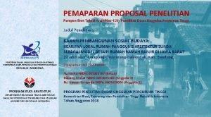 PEMAPARAN PROPOSAL PENELITIAN Rumpun Ilmu Teknik Arsitektur426 Penelitian
