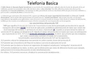 Telefonia Basica El ADSL Bucle de Abonado Digital