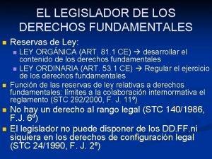 EL LEGISLADOR DE LOS DERECHOS FUNDAMENTALES n Reservas