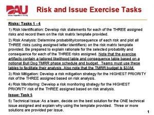 Risk and Issue Exercise Tasks Risks Tasks 1