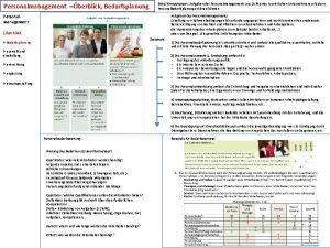 Personalmanagement berblick Bedarfsplanung ZieleKompetenzen Aufgaben des Personalmanagements aus