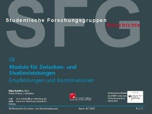 SFG Studentische Forschungsgruppen Geschichte 08 Module fr Zwischen