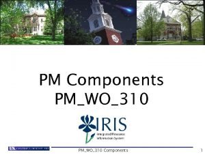 PM Components PMWO310 Components 1 Course Content Introduction