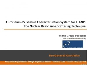 Euro Gamma S Gamma Characterisation System for ELINP