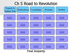 Ch 5 Road to Revolution French Restrictions Vocabulary