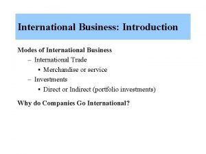 International Business Introduction Modes of International Business International
