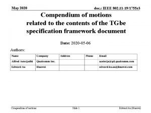 May 2020 doc IEEE 802 11 191755 r