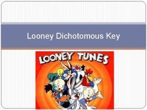 Looney Dichotomous Key Dichotomous Keys Dichotomous keys are