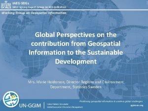 IAEGSDGs Interagency Expert Group on SDG Indicators Working