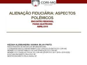 ALIENAO FIDUCIRIA ASPECTOS POLMICOS ENCONTRO REGIONAL PASSA QUATROMG
