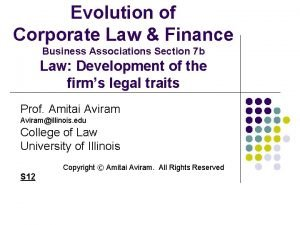 Evolution of Corporate Law Finance Business Associations Section