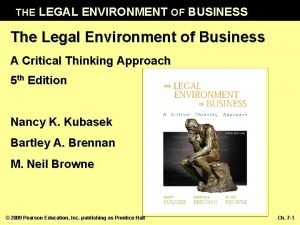 THE LEGAL ENVIRONMENT OF BUSINESS The Legal Environment