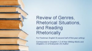 Review of Genres Rhetorical Situations and Reading Rhetorically