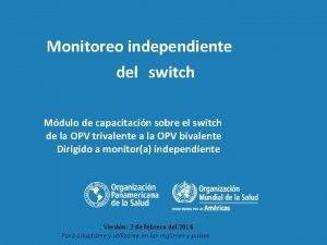 Monitoreo independiente del switch Mdulo de capacitacin sobre