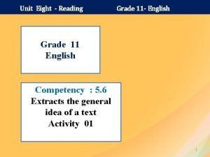 Unit Eight Reading Grade 11 English Grade 11